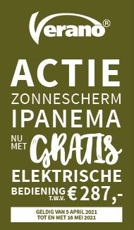 Verano Ipanema knikarmscherm met gratis elektrische bediening